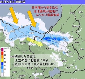 20160223夜の札樽降雪