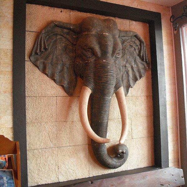 壁に埋まった象