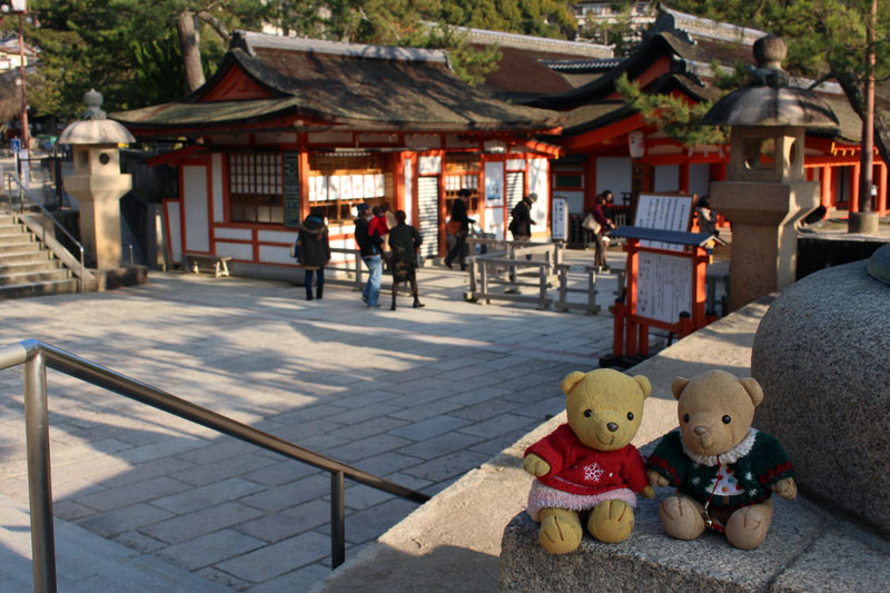 厳島神社拝観入り口で くまちゃん 160107