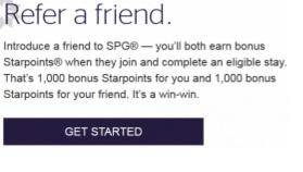 スターウッドで1,000お友達紹介でそれぞれに1000スターポイント