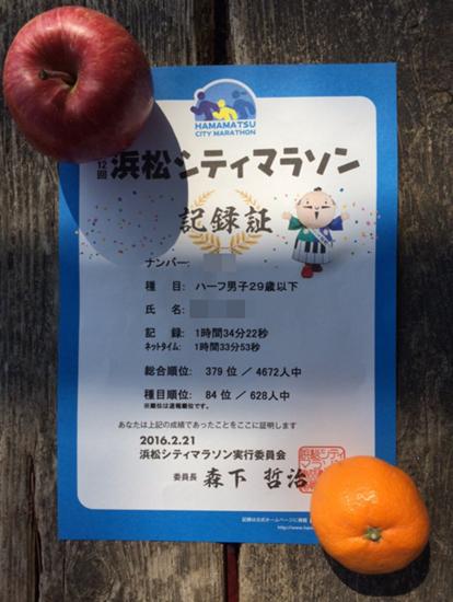 浜松シティマラソン12回記録証