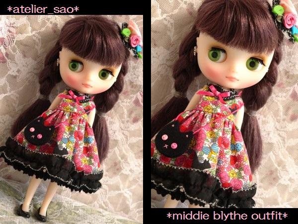 ◆ミディブライス服◆花畑と黒猫◇ピンク1