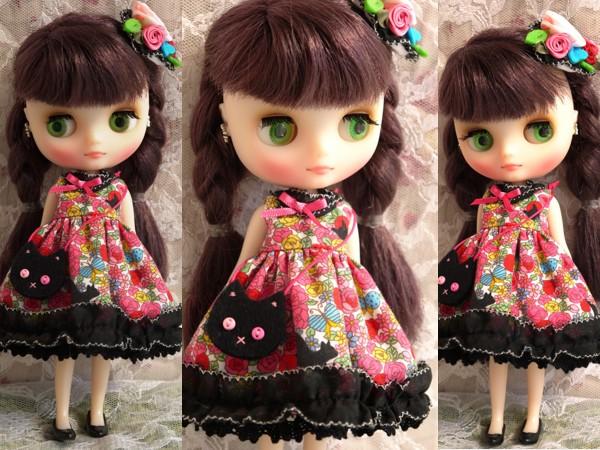 ◆ミディブライス服◆花畑と黒猫◇ピンク2