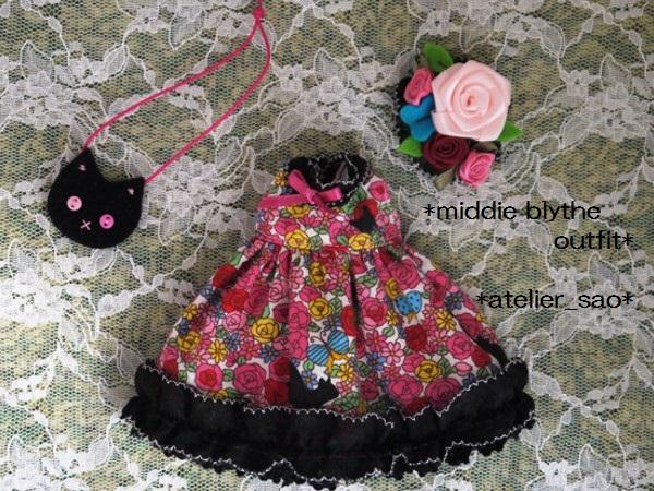 ◆ミディブライス服◆花畑と黒猫◇ピンク3