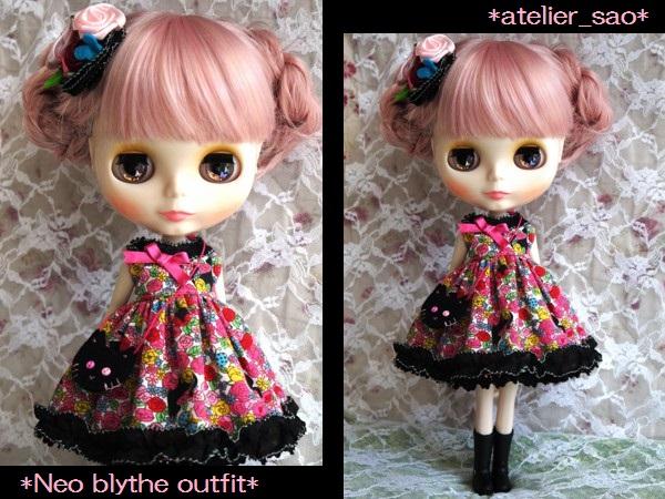 ◆ネオブライス服◆花畑と黒猫◇ピンク1