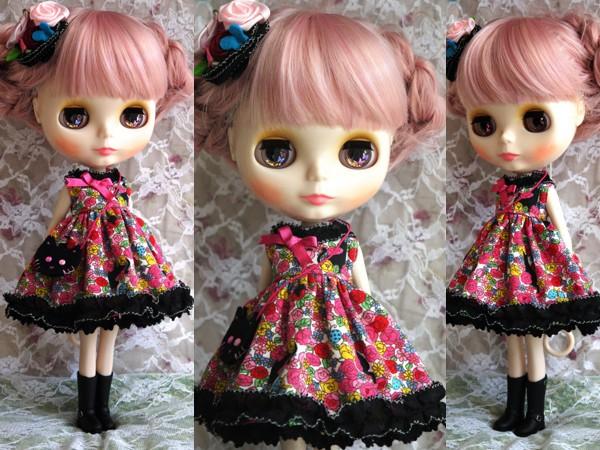 ◆ネオブライス服◆花畑と黒猫◇ピンク2