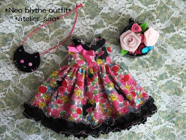 ◆ネオブライス服◆花畑と黒猫◇ピンク3