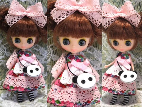 ◆プチブライス◆花柄パンダワンピ◇白地2