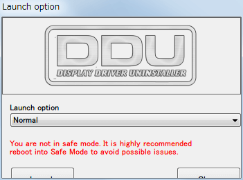 Display Driver Uninstaller DDU V15.7.5.2、Launch option 画面