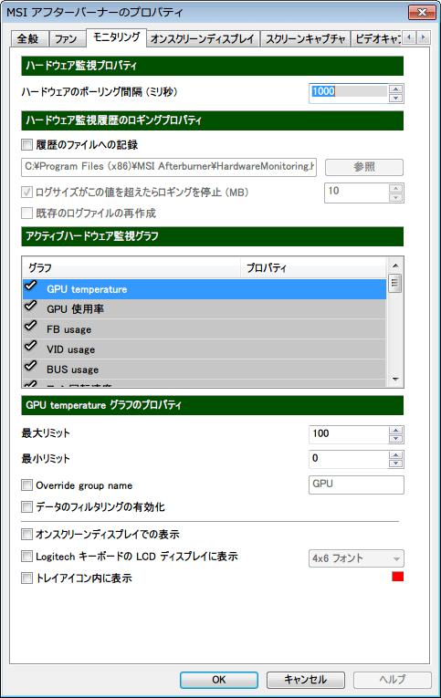 MSI Afterburner 3.0.0 「モニタリング」タブ 初期設定