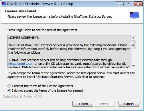 RivaTuner Statistics Server インストール、License Agreement 画面