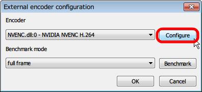 MSI Afterburner 3.0.0 「ビデオキャプチャ」タブ、「External encoder configuration」 画面 「Encoder」 項目 「NVENC.dll:0 - NVIDIA NVENC H.264」選択、「Configure」 ボタンクリック