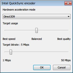 MSI Afterburner 3.0.0 「ビデオキャプチャ」タブ、「External encoder configuration」 画面 「Encoder」 項目 「QSV.dll:0 - Intel QuickSync H.264」選択、「Configure」 ボタンクリック、「Intel QuickSync encoder」 画面