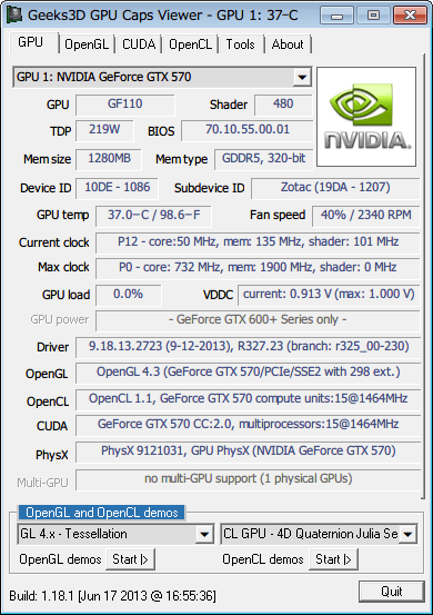 GPU Caps Viewer 画面