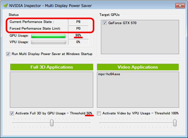 Activate Full 3D by GPU Usage - Threshold にチェックマークを入れ、ツマミをスライドさせて 50% に設定後、NVIDIA Inspector - Multi Display Power Saver、GPU Caps Viewer ベンチマーク起動後の GPU Usage 100% 近く稼働状態、Current Performance State と Forced Performance State Limit が Performance Level P12 から P8 と P0 状態に移行