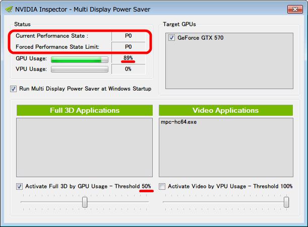 Activate Full 3D by GPU Usage - Threshold にチェックマークを入れ、ツマミをスライドさせて 50% に設定後、NVIDIA Inspector - Multi Display Power Saver、GPU Caps Viewer ベンチマーク起動後の GPU Usage 100% 近く稼働状態、Current Performance State と Forced Performance State Limit が Performance Level P12 から P0 状態に移行