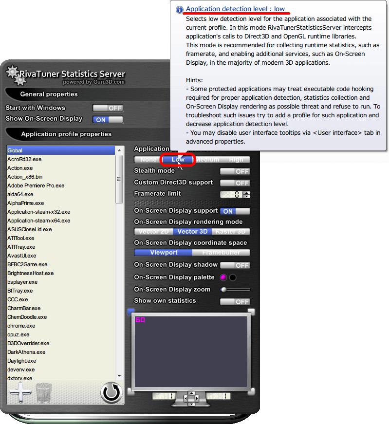 RivaTuner Statistics Server 6.1.1 メニューやヘルプ、ツールチップはすべて英語表記
