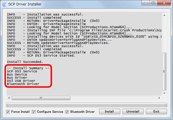 XInput Wrapper for DS3 インストール作業 インストールされた SCP Driver 一覧、Bluetooth Driver が表示されすべてのドライバが無事インストールしたことを確認