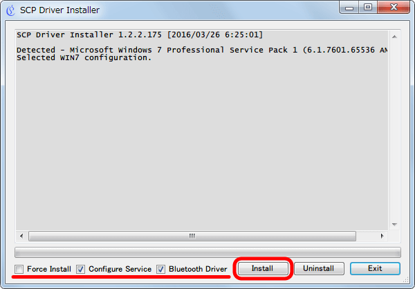 XInput Wrapper for DS3 インストール作業 SCP Driver Installer 画面、Configure Service と Bluetooth Driver にチェックマークが入っていることを確認して Install ボタンをクリック