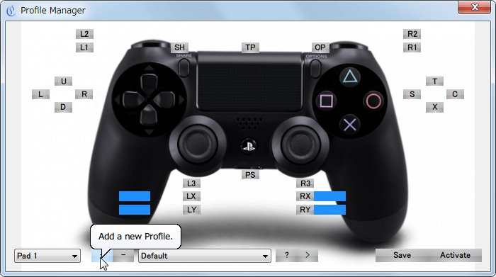 XInput Wrapper for DS3 Profile Manager 画面、新規プロファイル作成 Add a new Profile. ボタンをクリック