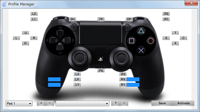 XInput Wrapper for DS3 ScpMonitor.exe を開きタスクトレイのアイコンを右クリックから Profile Manager をクリックしたときに表示される Profile Manager 画面、コントローラーを操作すると各種ボタンが反応する、ちなみにデフォルトでは一部のボタン(スタート、セレクト、PS ボタン、L3ボタン、R3ボタン)を除いてすべてアナログボタン(感圧式)の模様