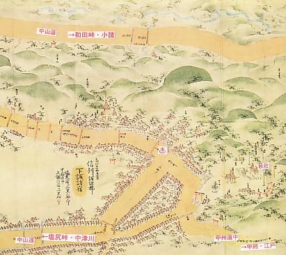 中山道下諏訪宿秋宮繪圖