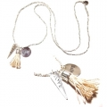 W38 Long charm tassel necklace silver (5)1