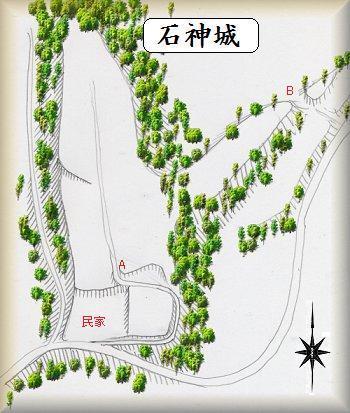 石神城址縄張り図