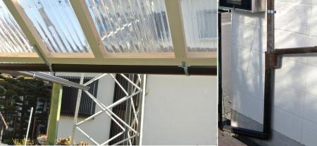 DIYテント屋根雨樋