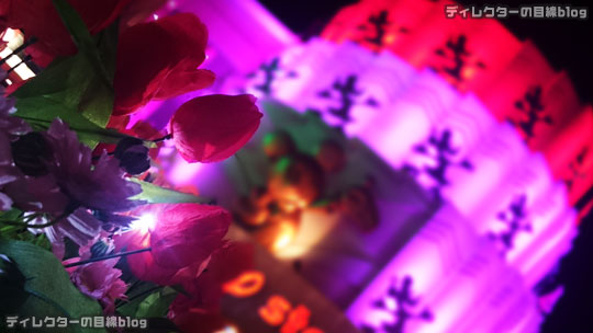 °○°2016年1月のある日の夕景の東京ディズニーシーと夜景のディズニーストア(東京ディズニーリゾート店)