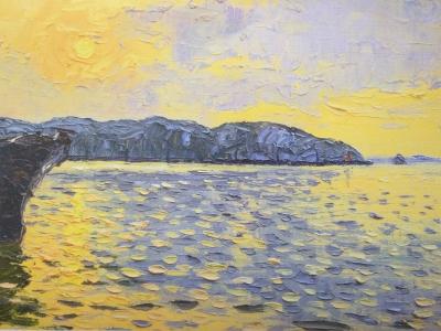 熊倉保夫 「船と牡鹿半島と早朝の海」