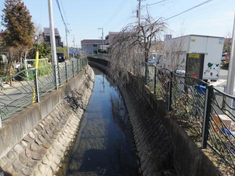 境橋より二ケ領用水・川崎堀下流を望む