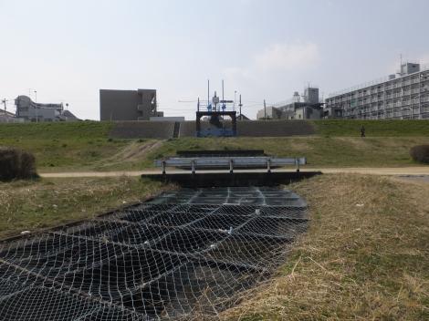 諏訪排水樋管と河川敷内の水路