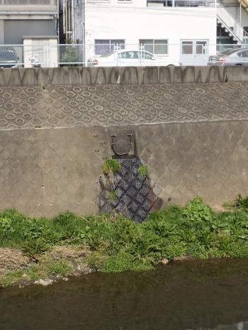 平瀬川の雨水排水放流口