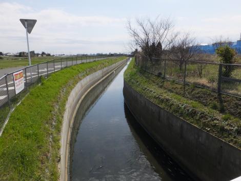 秦野市鶴巻、身洗戸橋より新川下流を望む