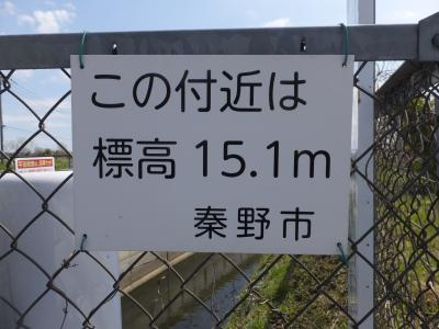 身洗戸橋の標高15.1m