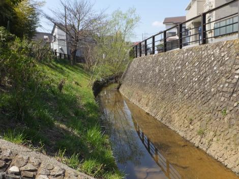 平瀬川の親水護岸・水沢橋付近より上流望む