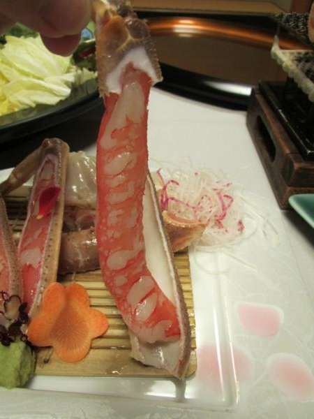夕食カニ刺身2