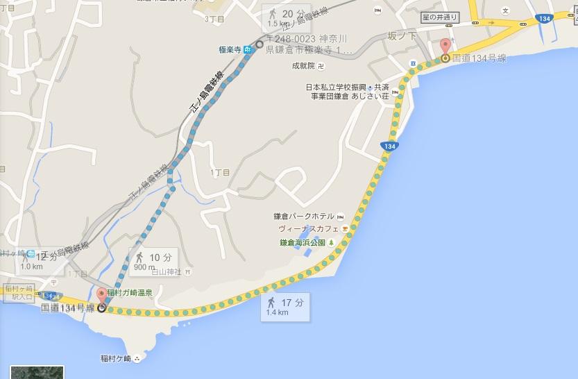 極楽橋から由比ヶ浜へのルート