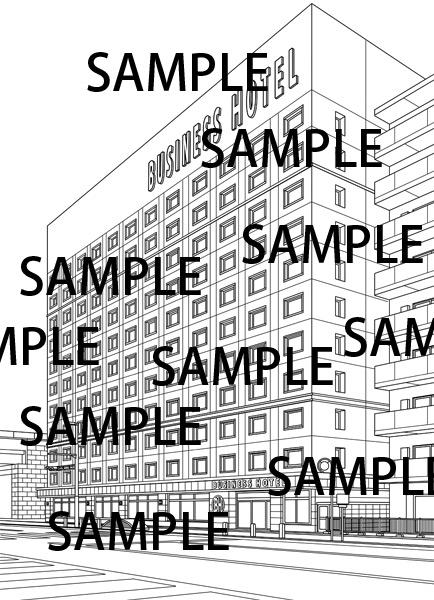 漫画背景素材「ビジネスホテル」のイラスト