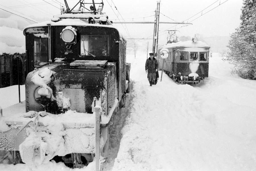 蒲原鉄道 大蒲原駅 吹雪とED1 3 1983年2月 16bitAdobeRGB原版 take1b