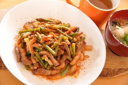0225豚肉とにんにくの芽の味噌炒め