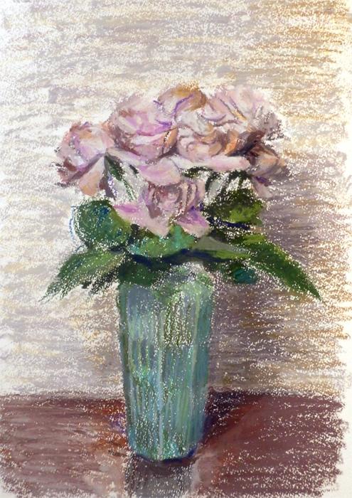 バラとガラスの花瓶-2