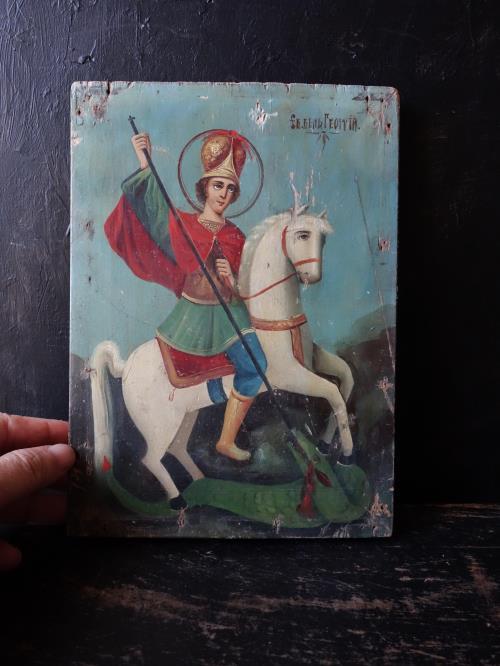 ロシアイコン 白馬に乗った、聖ジョルジュ (23)