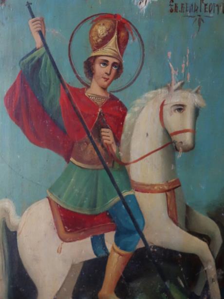 ロシアイコン 白馬に乗った、聖ジョルジュ (2)