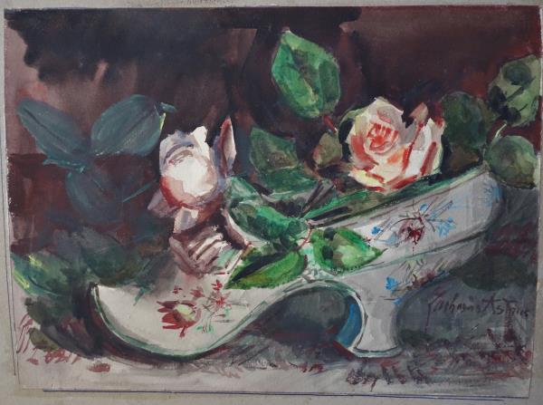 フランスアンティーク 19世紀薔薇の水彩画 (2) ザカリ―アストリュク