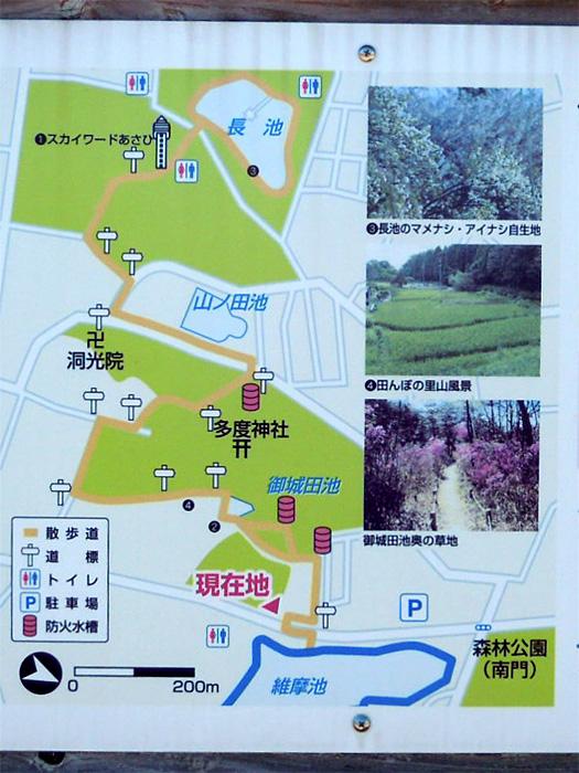 「山辺の散歩道」の地図。御城田池、山ノ田池、長池。