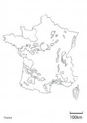 フランス全土白地図 縮尺入り