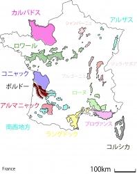 フランス全土着色地図