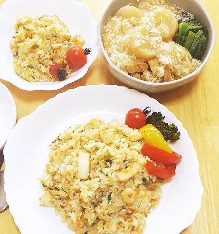 七草入りピラフと冷凍野菜料理